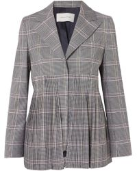 Cedric Charlier - Pleated Checked Wool-blend Blazer - Lyst