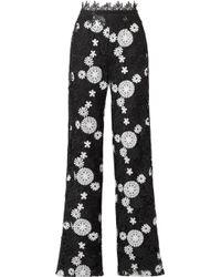Naeem Khan - Two-tone Guipure Lace Wide-leg Pants - Lyst