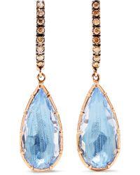 Larkspur & Hawk | Caprice Pear 14-karat Rose Gold, Diamond And Quartz Earrings | Lyst