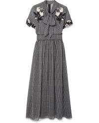 Lela Rose - Pussy-bow Embroidered Checked Silk-chiffon Dress - Lyst