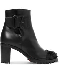 afee8903ec9 Christian Louboutin - Olivia Snow 70 Spiked Leather Ankle Boots - Lyst