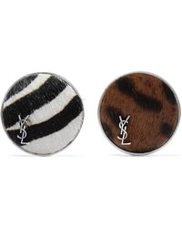 Saint Laurent - Set Of Two Silver-tone Calf Hair Brooches - Lyst