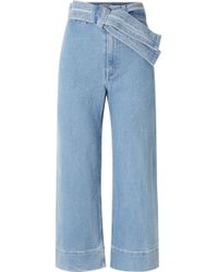 Apiece Apart - Merida Cropped Belted High-rise Wide-leg Jeans - Lyst