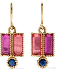 Larkspur & Hawk - Cora Double 14-karat Gold, Sapphire And Quartz Earrings - Lyst