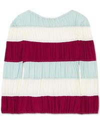 Marni - Ruched Striped Crepe De Chine Top - Lyst