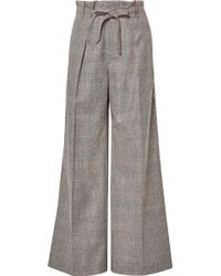 Roland Mouret - Woodcourt Belted Prince Of Wales Checked Wool Wide-leg Pants - Lyst
