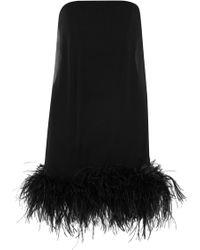 Saint Laurent - Feather-trimmed Chiffon Mini Dress - Lyst