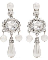 Oscar de la Renta - Silver-plated, Faux Pearl And Swarovski Crystal Clip Earrings - Lyst