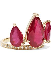 Jacquie Aiche - 14-karat Gold, Ruby And Diamond Ring - Lyst