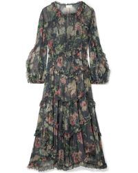 Zimmermann - Iris Ruffled Floral-print Silk-crepon Midi Dress - Lyst