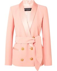 Balmain - Belted Double-breasted Crepe Blazer - Lyst