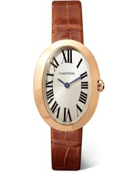 Cartier - Baignoire 24.5mm Small 18-karat Pink Gold And Alligator Watch - Lyst