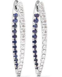 Melissa Kaye - Christina 18-karat White Gold, Diamond And Sapphire Earring - Lyst