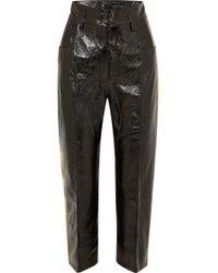 Petar Petrov - Striped Crinkled Patent-leather Straight-leg Pants - Lyst