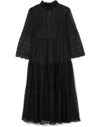 Anna Sui - Crocheted Cotton-blend Lace Midi Dress - Lyst