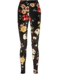 Attico - Floral-print Stretch-velvet Leggings - Lyst