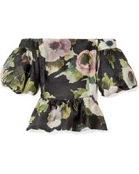 Marchesa - Off-the-shoulder Floral-print Silk-moire Top - Lyst