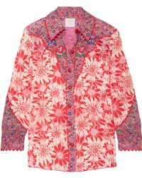 Anna Sui - Embroidered Printed Silk-crepon Shirt - Lyst
