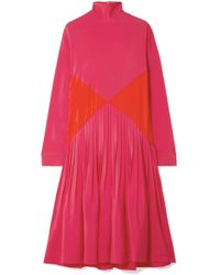 Cedric Charlier - Color-block Pleated Crepe Midi Turtleneck Dress - Lyst