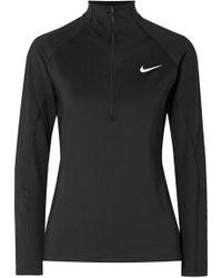 Nike - Pro Long Sleeve Half-zip (size 1x-3x) (green Abyss/black) Women's Long Sleeve Pullover - Lyst