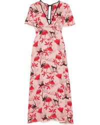 Markus Lupfer - Ruffle-trimmed Printed Crepe De Chine Dress - Lyst