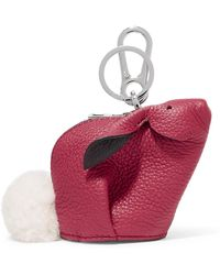 Loewe - Bunny Shearling-trimmed Textured-leather Bag Charm - Lyst
