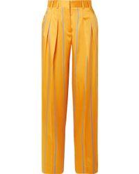 Victoria, Victoria Beckham - Striped Satin-twill Wide-leg Pants - Lyst