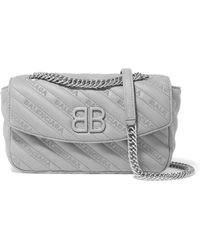 Balenciaga - Bb Round Small Embroidered Leather Shoulder Bag - Lyst