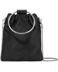 Theory - Post Small Leather-trimmed Satin Pouch - Lyst