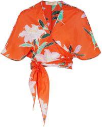 Diane von Furstenberg - Floral-print Cotton And Silk-blend Gauze Wrap Top - Lyst