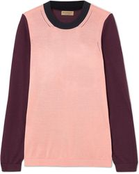 Burberry - Color-block Silk And Cashmere-blend Jumper - Lyst