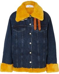 Marques'Almeida - + 7 For All Mankind Oversized Shearling-trimmed Denim Jacket - Lyst