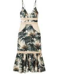 PATBO - Palm Mesh And Jute-trimmed Printed Woven Midi Dress - Lyst