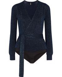 TUXE Bodywear - Solicitor Wrap-effect Lurex Bodysuit - Lyst