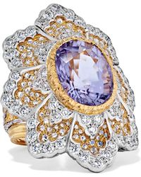 Buccellati - 18-karat Yellow And White Gold Diamond And Tourmaline Ring - Lyst