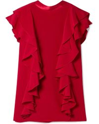 Adam Lippes - Satin-trimmed Ruffled Silk-crepe Top - Lyst