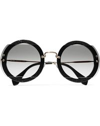 Miu Miu | Round-frame Cutout Beaded Acetate And Gold-tone Sunglasses | Lyst