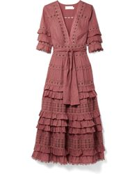 Zimmermann - Corsair Tiered Broderie Anglaise Cotton Midi Dress - Lyst