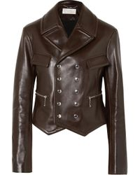 Chloé - Double-breasted Leather Biker Jacket - Lyst