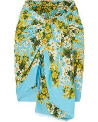 Dolce & Gabbana - Floral-print Cotton-gauze Pareo - Lyst