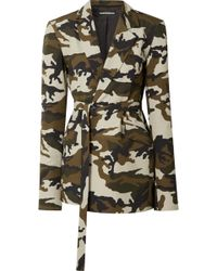House of Holland - Oversized Belted Camouflage-print Cotton-canvas Blazer - Lyst