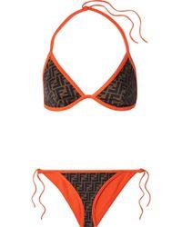 Fendi - Roma Reversible Printed Triangle Bikini - Lyst