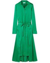 Rosetta Getty Apron Wrap-effect Satin Midi Dress