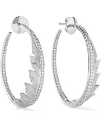 Stephen Webster - Magnipheasant 18-karat White Gold Diamond Hoop Earrings - Lyst