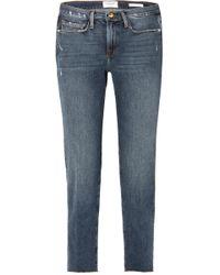 FRAME   Le Nouveau Distressed High-rise Straight-leg Jeans   Lyst