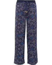 Paloma Blue - Galaxy Printed Washed Silk-satin Straight-leg Trousers - Lyst