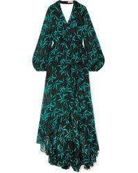 Caroline Constas - Olivia Wrap-effect Printed Silk-chiffon Maxi Dress - Lyst
