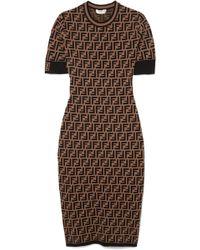 c0136b6873c3 Fendi - Stretch Jacquard-knit Dress - Lyst