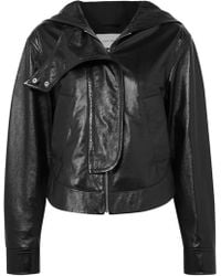 Cedric Charlier - Hooded Glossed Textured-leather Jacket - Lyst