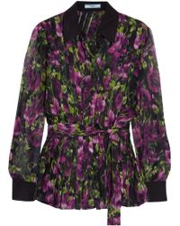 Prada - Pleated Floral-print Silk-crepon Blouse - Lyst